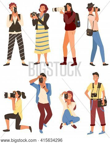 People Photographing, Man And Woman Shoot Vector