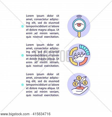 Smart Content Advantages Concept Line Icons With Text. Ppt Page Vector Template With Copy Space. Bro