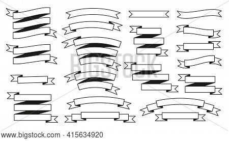 Set Of Glyph Black White Vector Vintage Ribbons With Transparent Lines Isolated On White. Retro Ribb