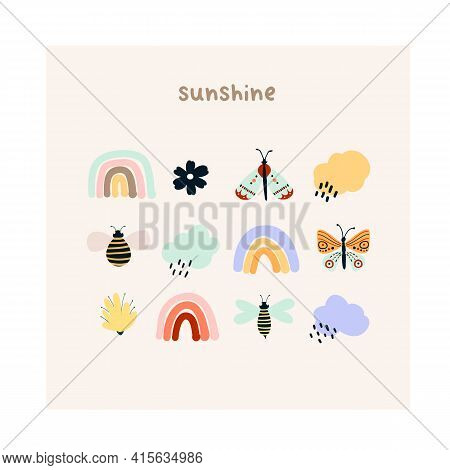 Cute Hand Drawn Tiny Rainbows, Flowers, Butterflies, Rain Clouds And Bees. Cozy Hygge Scandinavian S