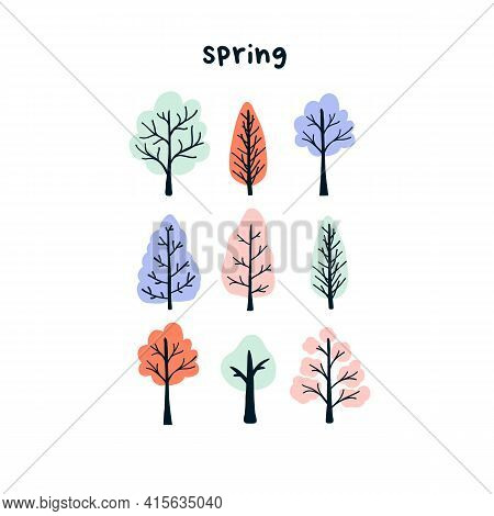 Cute Hand Drawn Tiny Spring Trees. Cozy Hygge Scandinavian Style Template For Postcard, Poster, Gree