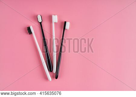 Fashionable Toothbrush With Soft Bristles. Popular Toothbrushes. Hygiene Trends. Kit Of Toothbrushes