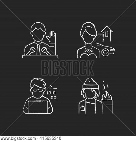 Social Status Type Chalk White Icons Set On Black Background. Political Elite. Upper And Lower Class