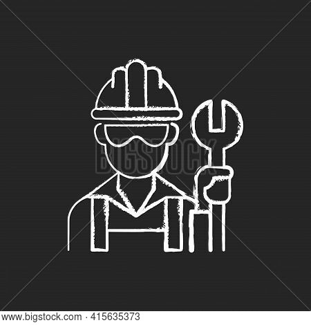 Blue Collar Worker Chalk White Icon On Black Background. Repairman With Wrench. Mechanic With Tool F
