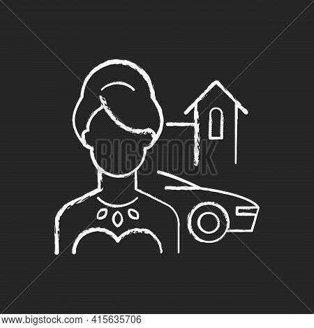 Upper Class Chalk White Icon On Black Background. Woman Of High Status In Society. Luxury Lifestyle.