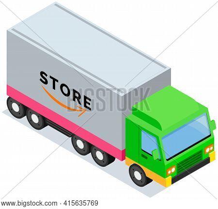 Transport With Inscription Store. Delivery Truck For Transporting Goods. Sell Worldwide Concept