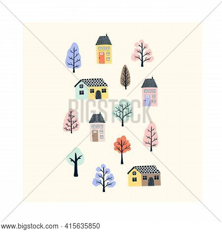 Cute Hand Drawn Tiny Houses With Spring Trees. Cozy Hygge Scandinavian Style Template For Postcard,