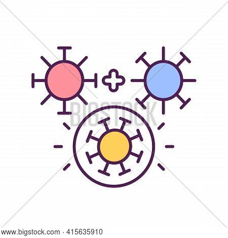 Virus Mutation Process Rgb Color Icon. Illness Improving Defence Against Vaccines And Treatments. Di