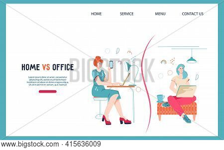 Freelancer Remote Occupation Vs Office Work Website Banner. Landing Page Comparing Advantage And Dis