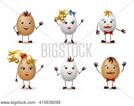 Egg Characters Set Isolated. Cute Cartoon Eggs Family Or Friends. Boy, Girl, Mother And Father Food