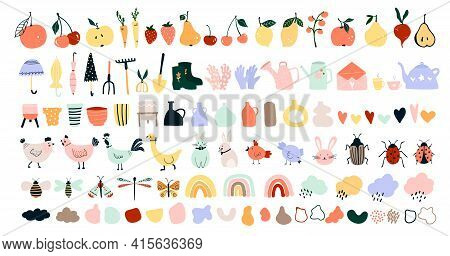 Cute Hand Drawn Spring Icons, Garden Tools, Fruits, Vegetables, Chickens, Hares, Bees, Butterflies.