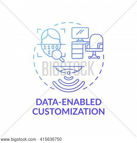 Data-enabled Customization Concept Icon. Future Office Design Idea Thin Line Illustration. Protectio
