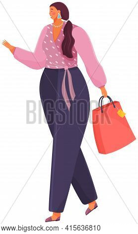Pretty Girl Shopper Holds Package Vector Illustration. Young Fat Woman With Pink Paper Bag Walking