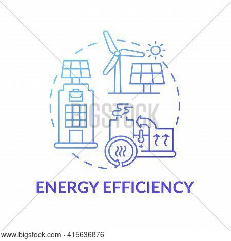 Energy Efficiency Concept Icon. Office Building Requirement Idea Thin Line Illustration. Reducing Gr