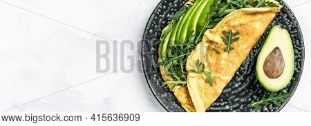 Frittata Italian Omelet With Avocado And Arugula. Delicious Vegan, Vegetarian Breakfast, Long Banner