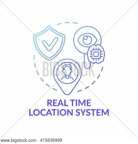 Real Time Location System Concept Icon. Future Smart Office Idea Thin Line Illustration. Unauthorize