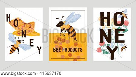 Honey And Natural Bee Products Banners Or Cards Set, Flat Vector Illustration. Honey Producing, Beek