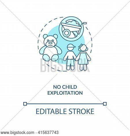 No Child Exploitation Blue Concept Icon. Immigrant Children Abuse Prevention. Migrant Worker Rights