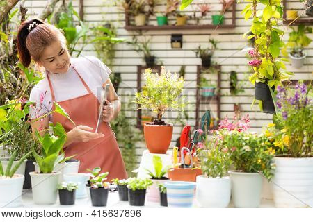 Asian Woman Care And Sale Online Plant Flower In Garden. People Hobby And Freelance Gardening Indoor