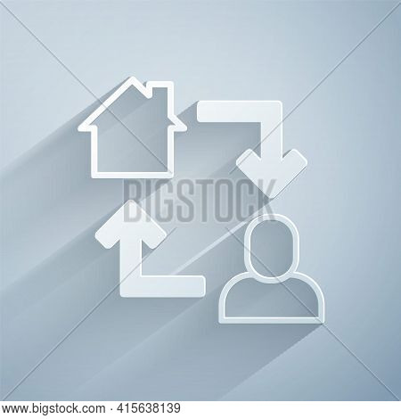 Paper Cut Online Working Icon Isolated On Grey Background. Freelancer Man Working On Laptop At His H