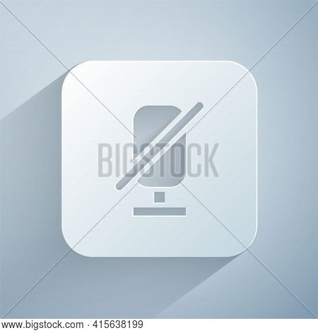 Paper Cut Mute Microphone Icon Isolated On Grey Background. Microphone Audio Muted. Paper Art Style.