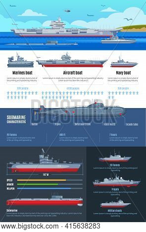 Military Fleet Infographics With Different Types Of Battle Ships And Characteristics Of Navy Boats V