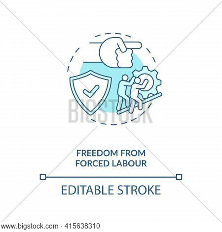 Freedom From Forced Labour Blue Concept Icon. Stop Labour Exploitation. Illegal Work. Migrant Worker