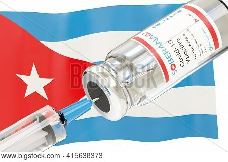 Buenos Aires, Argentina - April 05, 2021: Cuban Covid -19 Soberana 02 Vaccine Vial And Injection Syr