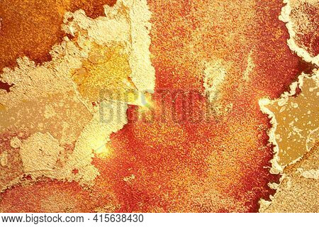 Amber, Yellow And Gold Shining Abstract Marble Background