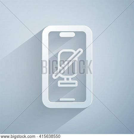 Paper Cut Mute Microphone On Mobile Phone Icon Isolated On Grey Background. Microphone Audio Muted.