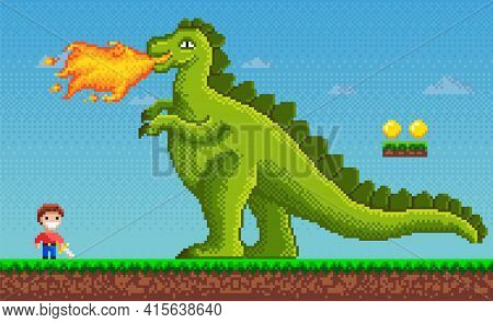 Pixel-game Dinosaur Monster Breathes Fire On Human Character In Pixel Art Vector Illustration