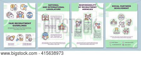 Fair Recruitment Guidelines Brochure Template. Social Partners. Flyer, Booklet, Leaflet Print, Cover