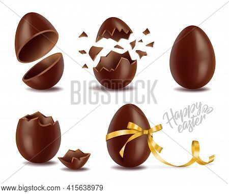 Realistic Chocolate Eggs Set, Broker, Exploded And Whole, Sweet Tasty Eggshell, Easter Symbol, Vecto