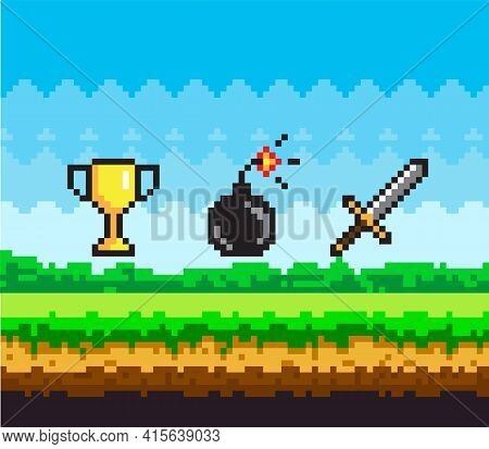 Pixel Game Scene With Green Grass And Valuable Awards Bomb With Wick, Gold Goblet And Steel Sword