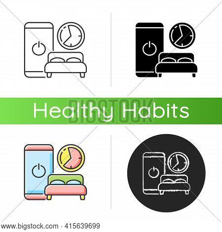 Sleep Hygiene Icon. Healthy Nighttime Routine. Bedtime Activity. Schedule To Prevent Insomnia. Digit