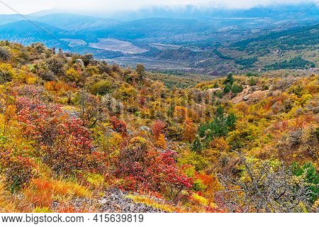 Mountains And Forests Of Crimea In An Autumn Day