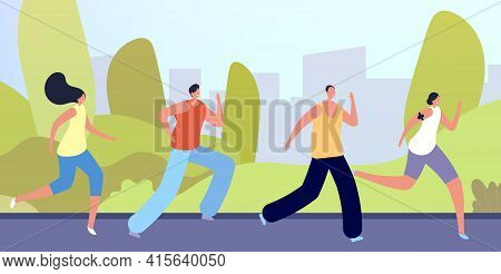 Run In Park. Active People Crowd, Flat Man Woman Running On Nature. Outdoor Sport Exercise, Young Fr