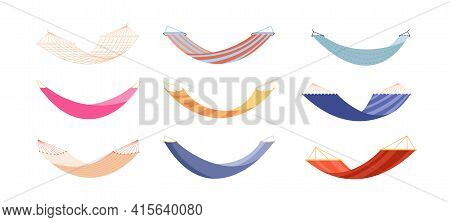 Hammocks. Relaxation Hammock, Modern Relax Lifestyle Decoration. Isolated Fabric Swing For Beach Or
