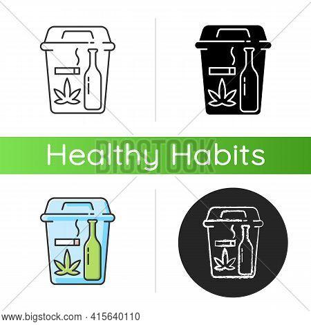 Quitting Bad Habits Icon. No Smoking. Stop Drug Dependance. Refuse Alcohol Drink. Health Improvement