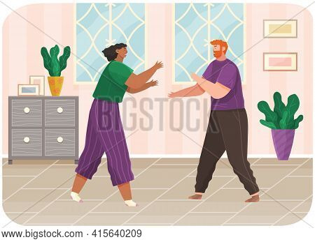 Young Couple Quarreling At Home. Man And Woman Couple In Bad Relationship. Arguing, Reprimanding