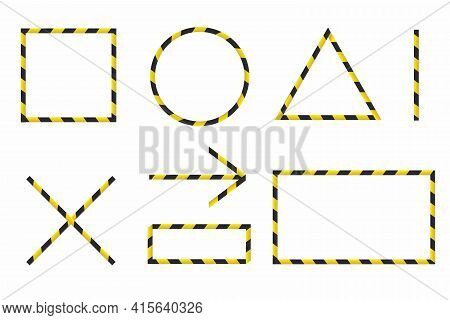 Barricade Tape Set Isolated On White. Direction And Navigation Signs. Duct Tape Collection. Frames,