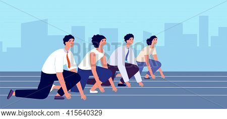 Start To Business Race. People Ready Races, Flat Man Woman In Suit Started Run. Running Focused Mana