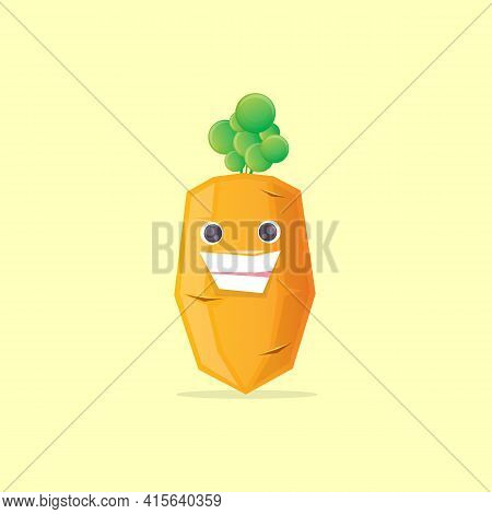 Vector Funny Cute Healthy Cartoon Carrot Character Isolated On Pastel Yellow Background. Funky Smili