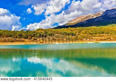 Lake And Mountains In Crimea On A Sunny Autumn Day
