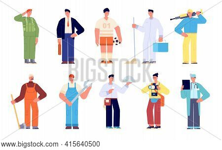 Different Workers. Group Young Working Characters, Diversity Professions. Builder Worker, Doctor Bus