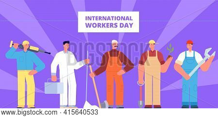 International Workers Day. Labour Worker Profession, Occupations Holiday Poster. Diverse Workers In