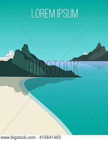 Flat Light Coast Landscape Background With Tranquil Sea Beach And Mountains At Day Time Vector Illus