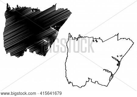 Wilmington City, North Carolina (united States Cities, United States Of America, Usa City) Map Vecto