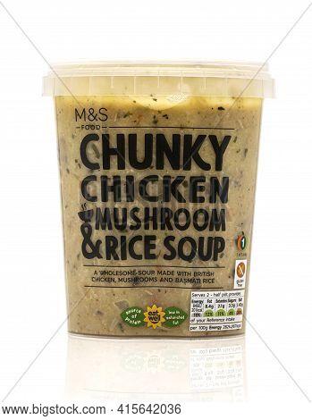 Swindon, Uk - April 5, 2021: M&s Chunky Chicken Mushroom & Rice Soup, Made With British Chicken Mush