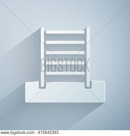 Paper Cut Wooden Swedish Wall Icon Isolated On Grey Background. Swedish Stairs. Paper Art Style. Vec